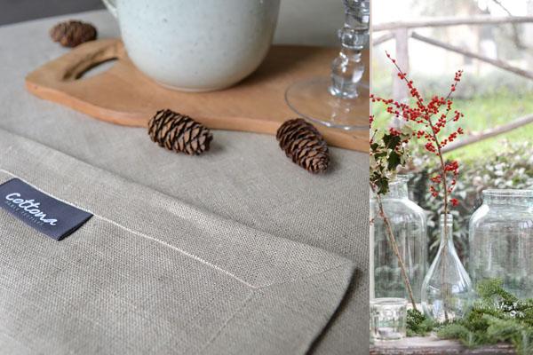 Une nappe de Noël en lin naturel, des serviettes de table de couleur vert