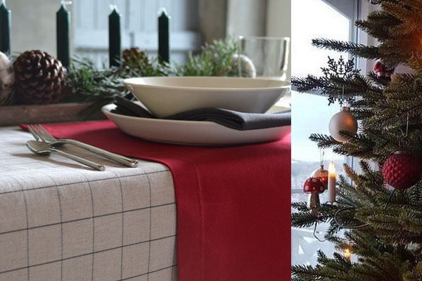 Une nappe de Noël à carreaux en lin naturel, des sets de table rouge.