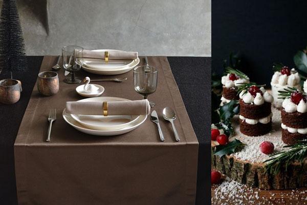 Une nappe de Noël glamour de couleur noir onyx, un chemin de table de couleur bronze.
